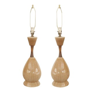 American Mid-Century Beige Porcelain Table Lamps - a Pair For Sale