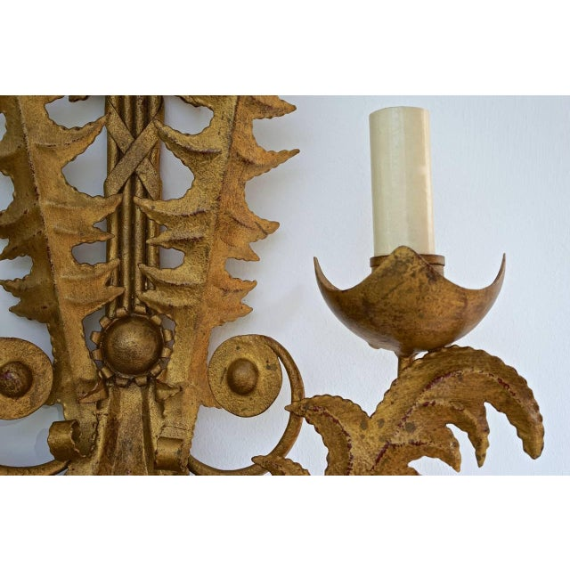 1980s Large Scale Art Deco Revival Gold-Bronze Finish Two-Light Wall Sconces - a Pair For Sale - Image 5 of 9