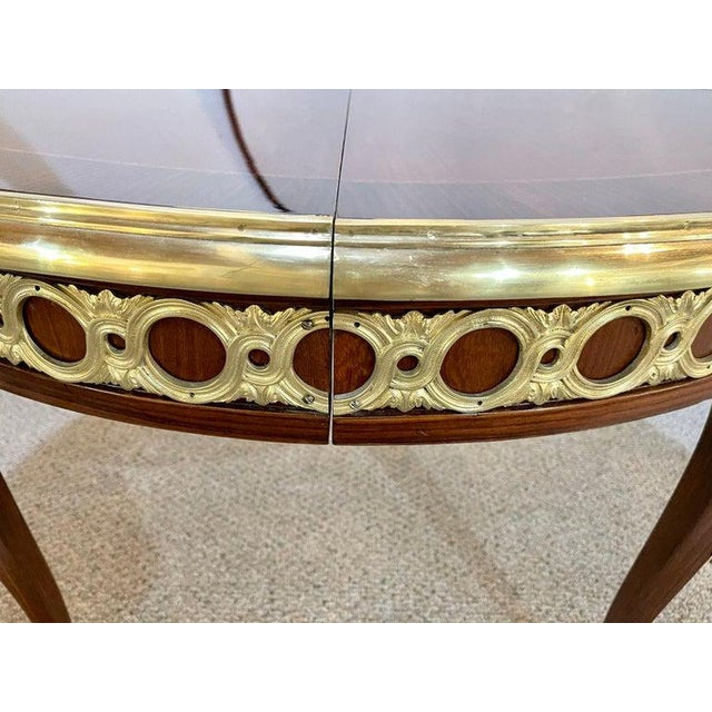 Bronze Louis XV Style French Dining Table, Bronze Mounted Starburst Top, Refinished For Sale - Image 8 of 12