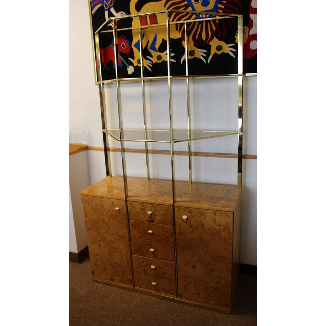 1970s Mid Century Modern Milo Baughman Burl Wood Credenza Brass Etagere Glass Shelves For Sale - Image 5 of 8