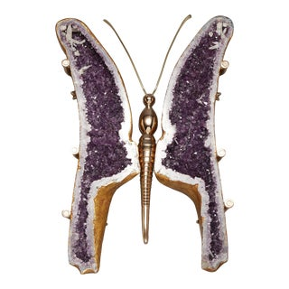 Amethyst and Bronze Butterfly Coffee Table For Sale