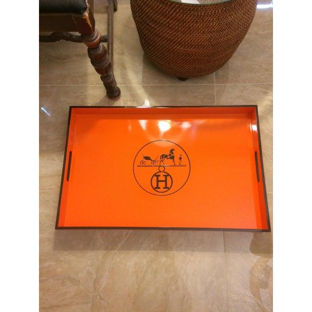 Vintage Hermes Inspired Orange & Brown Large Bar Tray - Image 2 of 5