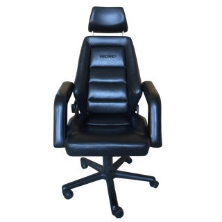 Vintage Black Leather Recaro Executive Chair
