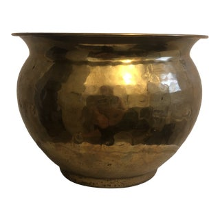 Vintage Small Mid-Century Modern Hammered Brass Planter For Sale