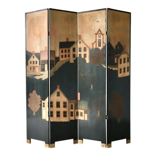 Decorative Four Panel Screen Attributed to Maitland Smith 1970s For Sale