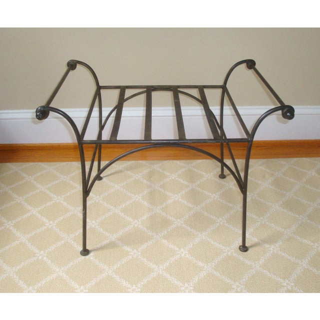 Excellent solid iron bench or stool in the perfect tones of dark gray to black with just a touch of greenish bronzing in...