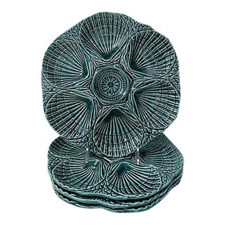 French Majolica Oyster Plates - Set of 4