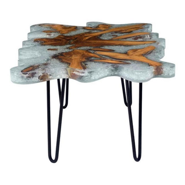 Reclaimed Teak Lucite & Glass Coffee Table - Image 2 of 3