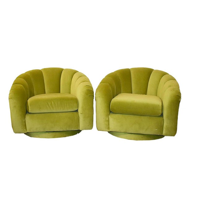 Milo Baughman Style Green Velvet Channel Swivel Chairs - a Pair - Image 5 of 5