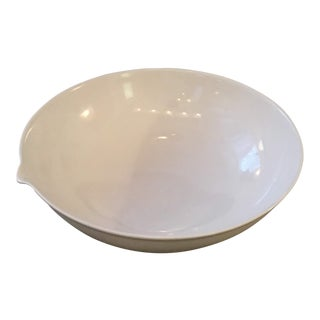Minimalistic Glazed White Ceramic Thumbprint Bowl For Sale