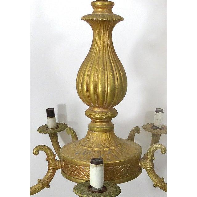 Neoclassical Revival Vintage Gilt Gold Chandelier For Sale - Image 3 of 8