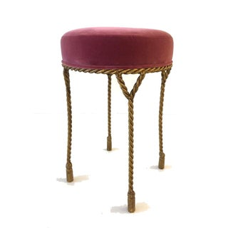Vintage Hollywood Regency Gilt Tassel Rope Stools- A Pair Preview
