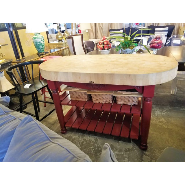 Early 21st Century John Boos Red Maple Butcher Block Island With 3 Baskets For Sale - Image 5 of 11