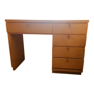 Early Mid Century 5 Drawer Blonde Wood Desk
