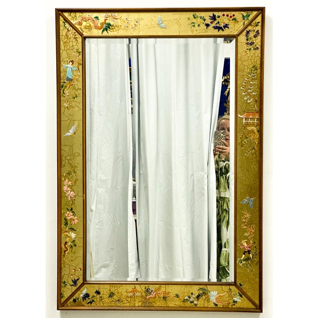 1970s La Barge Eglomise Chinoiserie Italian Mirror For Sale - Image 5 of 5