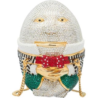 Judith Leiber Humpty Dumpty Evening Bag Minaudiere Red Green Black Crystals For Sale