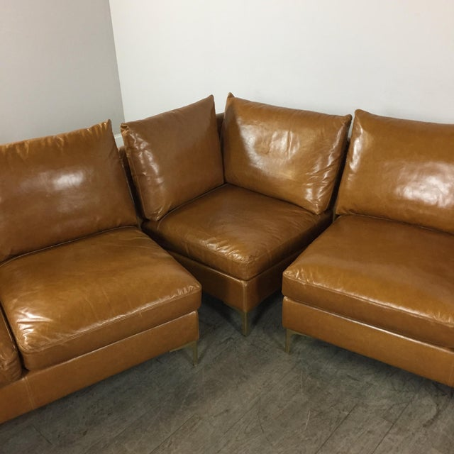 Leather Sofas For Sale In Northern Ireland: Modern Saddle Leather Sectional Sofa
