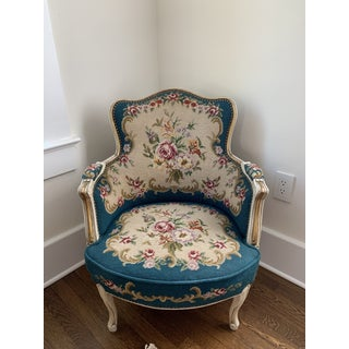 Late 19th Century Vintage Needlepoint Bergere Chairs - A Pair Preview
