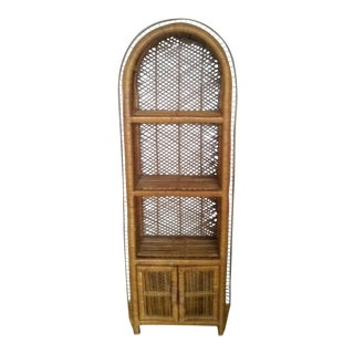 1970's Vintage Wicker Rattan Arched Etagere For Sale