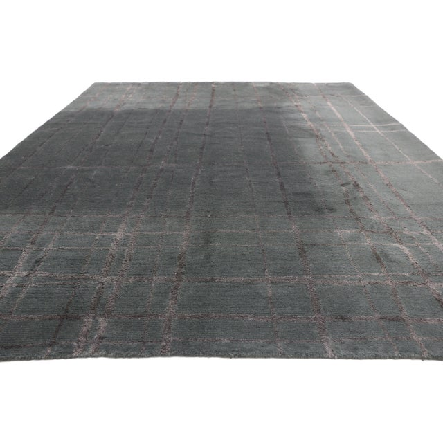 Contemporary Vintage Tibetan Abstract Expressionism Rug - 7'10 X 10'9 For Sale - Image 3 of 10