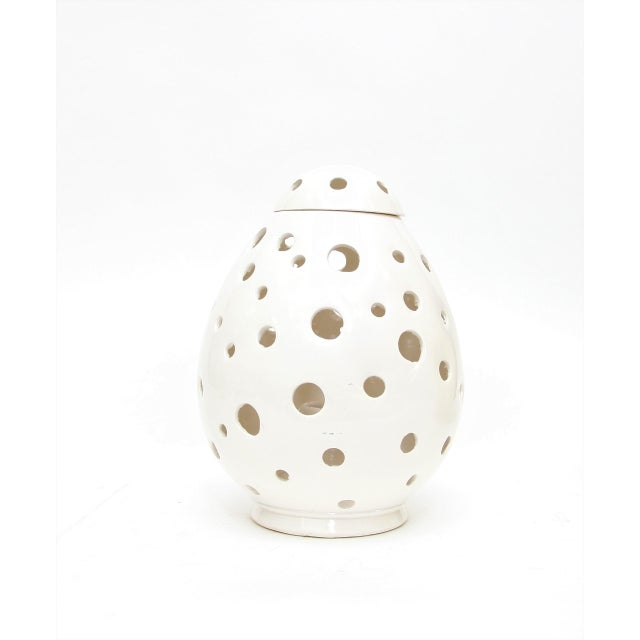 Moroccan Hand Painted White Egg Lamp Shell - Image 2 of 3