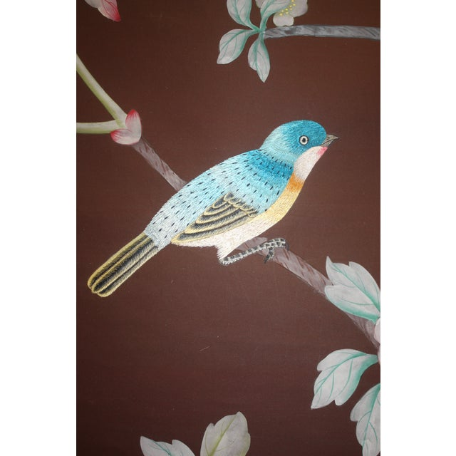 Hand Painted and Embroidered Mural on Paper Backed Silk For Sale - Image 10 of 13