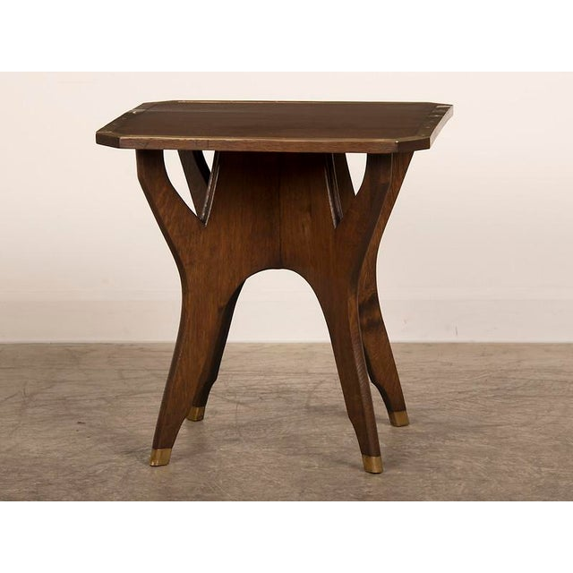 French Antique French Octagonal Oak Table with Brass Accents circa 1900 For Sale - Image 3 of 6