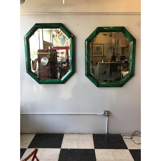 Large pair of 1970s Italian faux malachite beveled mirrors in wood frame.