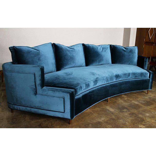 Hollywood Regency Pierre Curved Blue Velvet Sofa For Sale - Image 3 of 4