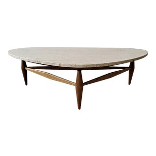 Mid Century Travertine and Oak Coffee Table For Sale