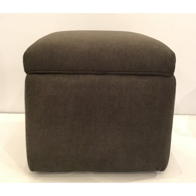 2010s Transitional Dark Gray Storage Ottoman For Sale - Image 5 of 5
