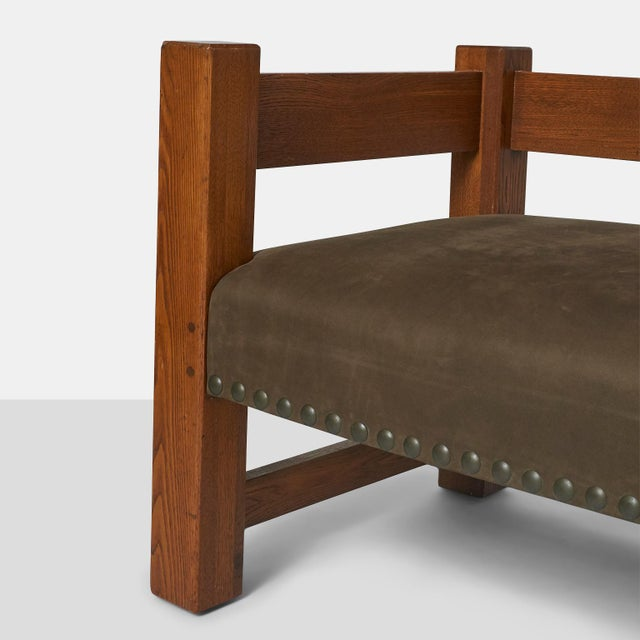 Metal Stickley Brothers Leather Upholstered Oak Sofa For Sale - Image 7 of 8