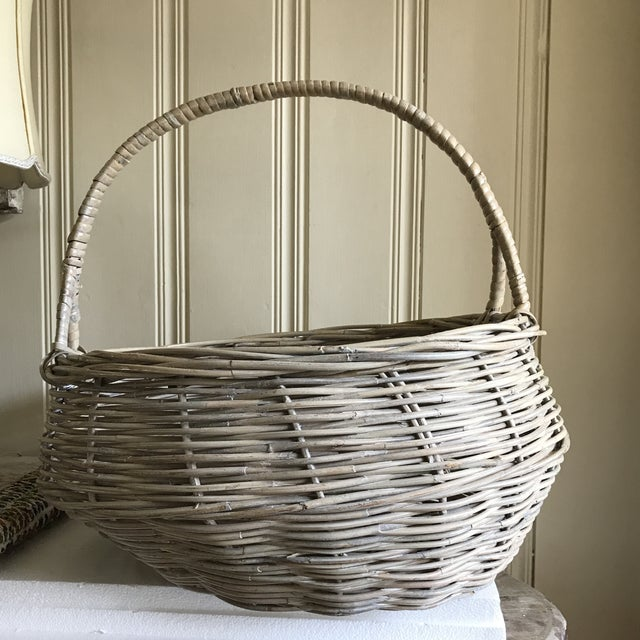 Extra Large Wood Woven Decor Basket For Sale - Image 9 of 11