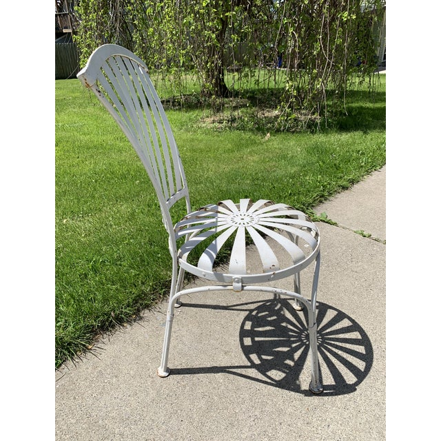 Vintage Mid Century French Francois Carre Sunburst Garden Chairs- Set of 4 For Sale - Image 6 of 11
