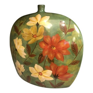 Mid Century Ceramic Hand Painted Flower Vase For Sale