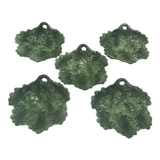 Hand Painted Green Leaf Plates - Set of 5 For Sale
