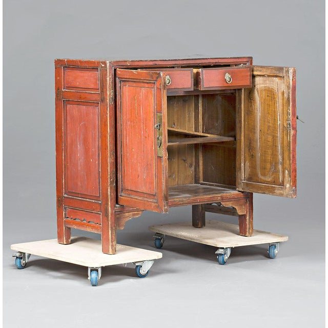 Asian Red Lacquered Chinese Cabinet From Ningbo For Sale - Image 3 of 5