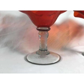 1870-1890 Antique Art Glass Compotes With Clear Blown Glass Stems and Applied Red Ruffled Glass Bowls - a Pair Preview
