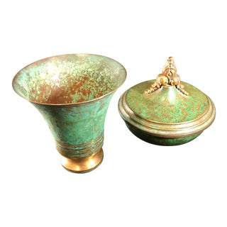 Carl Sorensen Art Deco Bronze Verdigris Vessels Covered Bowl and Vase - a Pair For Sale