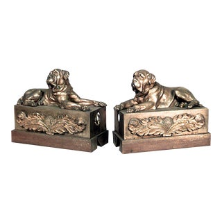 Victorian Brass Mastiff Andirons - a Pair For Sale