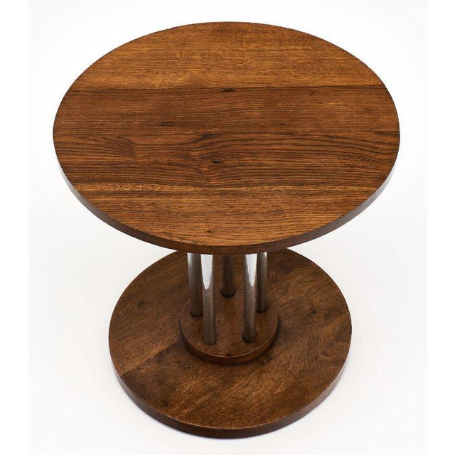 1970s French Architectural Oak on Chromed Steel Tubes Gueridon Table For Sale - Image 5 of 10