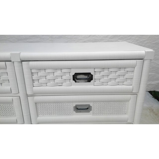 Dixie Lacquered Campaign Wicker Weve Dresser For Sale In Cleveland - Image 6 of 10