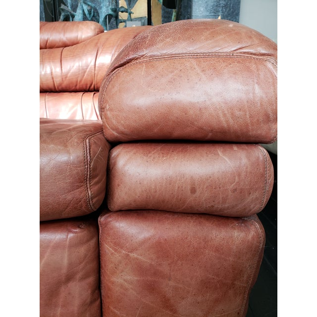 Leather 1960s Italian Zanotta Two-Seater Leather Sofa For Sale - Image 7 of 9