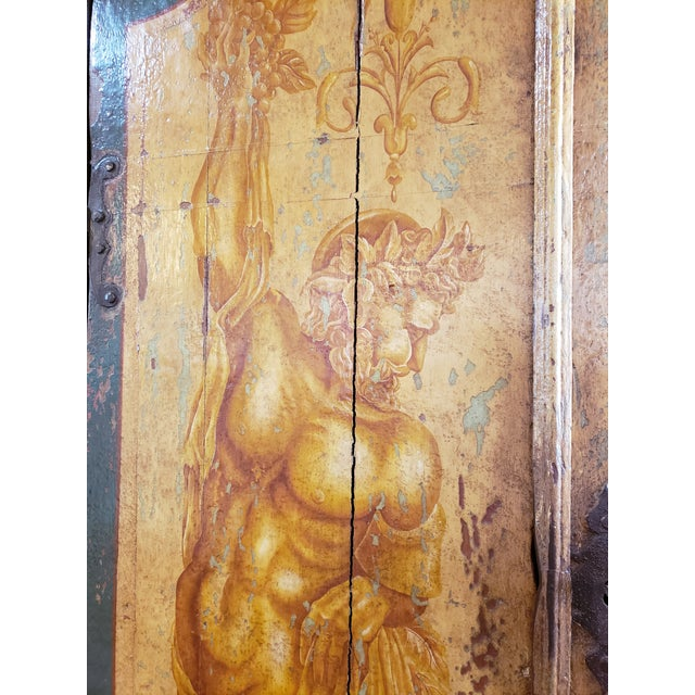 Rustic Hand Painted Arch Top Armoire For Sale - Image 4 of 13