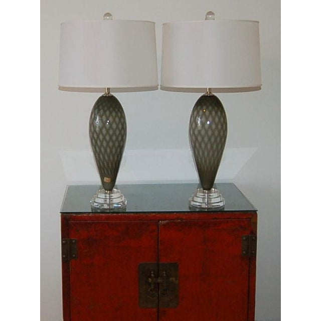 Gray Vintage Murano Glass Table Lamps Gray For Sale - Image 8 of 9