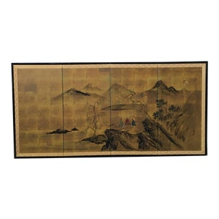 Four Panel Japanese Byobu Wall Screen For Sale