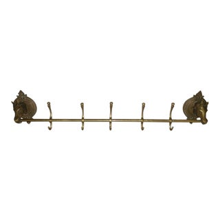 Oversize Brass Coat Rack with Horse Heads, 1920 For Sale