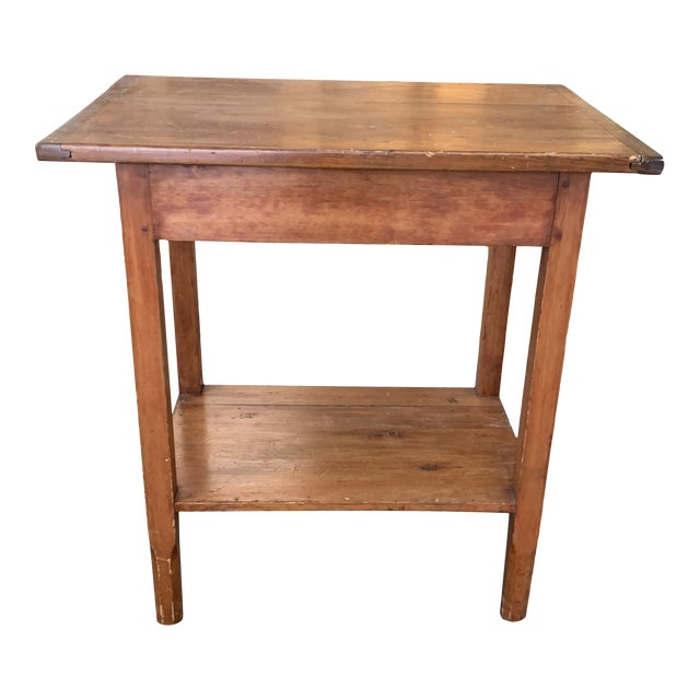 Antique Rustic Pine Two-Tier Side Table For Sale