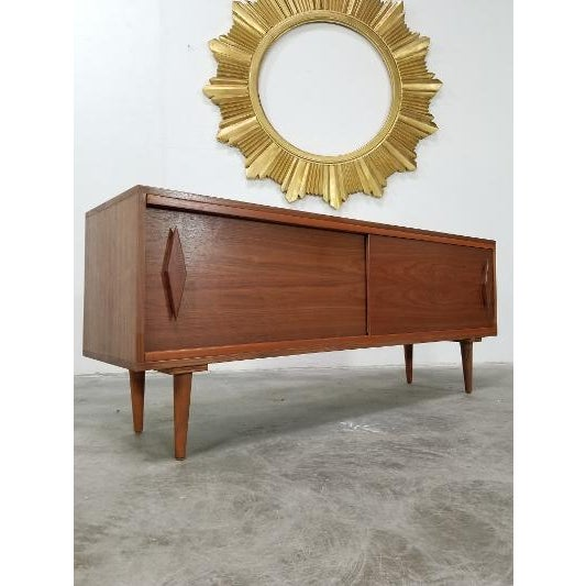 Mid Century Modern Style Walnut Veneer Credenza/Media Records Cabinet For Sale - Image 13 of 13