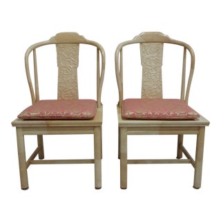 Vintage Henredon Faux Goatskin Pan Asian Campaign Dining Room Side Chairs - a Pair For Sale